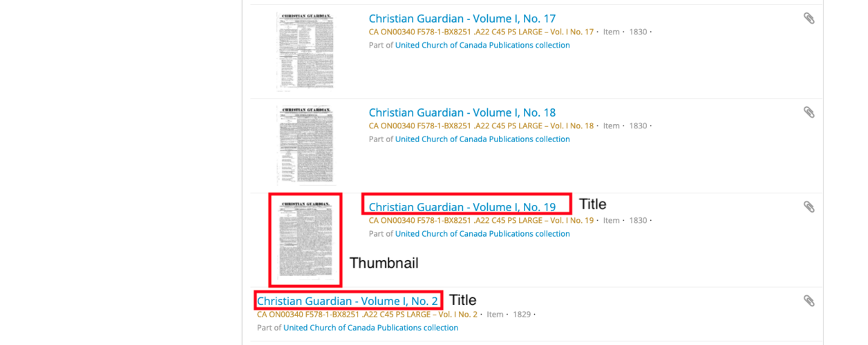 screen capture indicating title and thumbnail