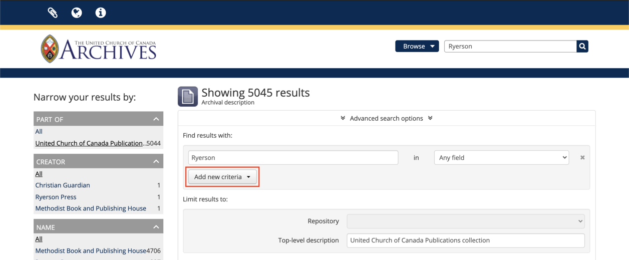 screen capture of additional search term