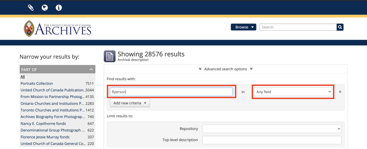 screen capture of advanced search page search term