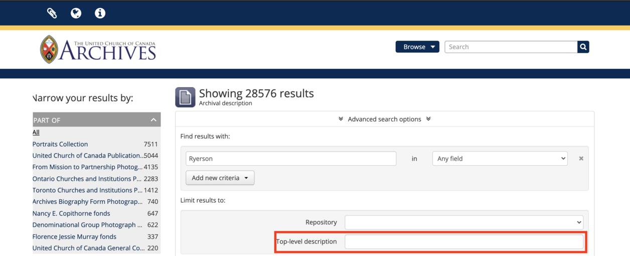 screen capture of a top level description field