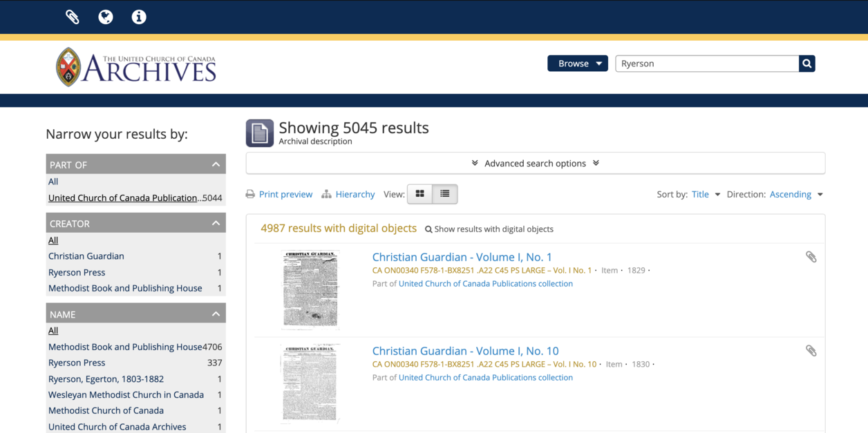 screen capture of results